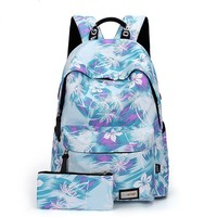 New Flower Gril's Canvas Rucksack Floral Abstract School Travel Bag Backpack