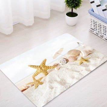 Beach Starfish Conch Pattern Water Absorption Area Rug
