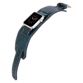 Apple Watch Band Genuine Leather Watch-Cuff Band, Husband Wife Boyfriend Gift, Apple Watch Wide Leather Band 38mm 42mm in Blue