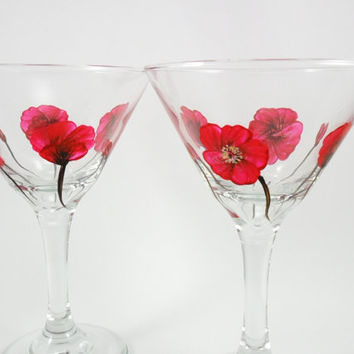 Martini Glasses Hand Painted Poppies Set of 2
