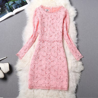 Lace Crochet Long Sleeve Dress