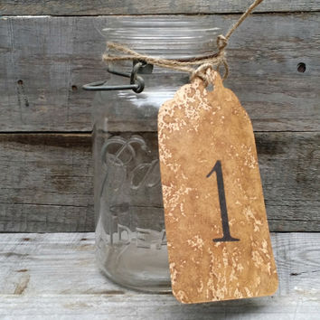 Rustic Wedding Coffee Stained Kraft Table Number Tags with Twine, Distressed Tags, Kraft Table Number, Rustic Wedding Centerpiece