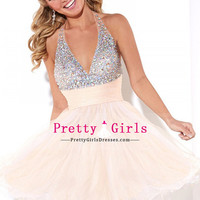 2015 A Line Homecoming Dresses Halter Short/Mini Skirt Tulle With And Ruffles $ 157.49 PGDPMGL7E9C - PrettyGirlsDresses.com for mobile