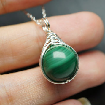 Malachite Necklace - 100% Natural Wrapped Sterling Silver Malachite Pendant