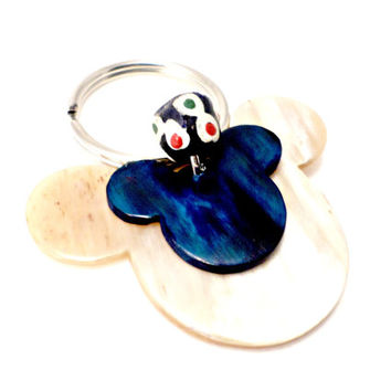 mickey mouse key chain 3D cow horn gift for teens gift for girls purple key chain ivory key chain made in Ghana fair trade Disney