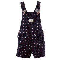 Oshkosh Girls Navy/Pink Polka Dot Shortall