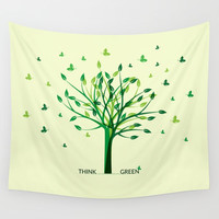 Think green! Wall Tapestry by Graf Illustration