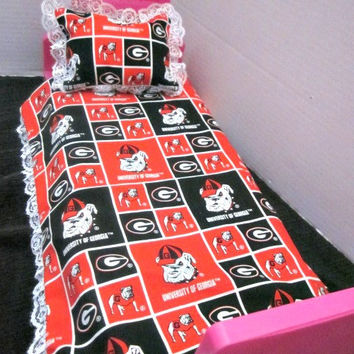 18 Inch Doll Bedding, American Girl Dolls,Georgia Bulldogs, Doll Blanket, AG Doll Accessories, Baby Dolls, By Sweetpeas Bows & More