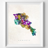 Armenia Watercolor Map Print