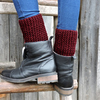FREE SHIPPING Claret cuffs Hand knitted dark red cuffs Boot toppers Claret leg warmers Chunky cuffs Boot cuffs Claret boot socks Boot liners