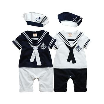 Baby rompers Navy Sailor uniforms summer baby clothes Short sleeve one-pieces jumpsuit + hat baby boys girls clothing 2018 gift