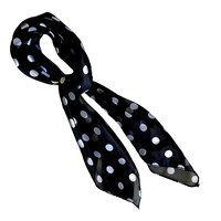 Black Polka Dot Retro Chiffon Scarf