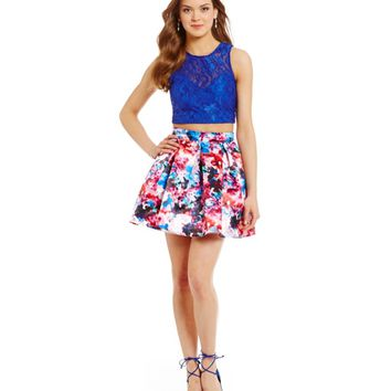 Teeze Me Lace Top Floral Print Skirt Two-Piece Dress | Dillards