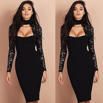 Women Ladies Dress Clothing Bandage Bodycon Slim Long Sleeve Lace Party Sexy Pencil Dresses Women