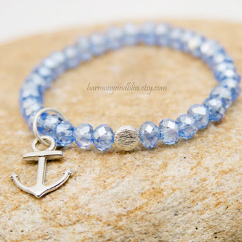 Anchor charm bracelet nautical jewelry Light cornflower Periwinkle Blue baby blue glass faceted bead