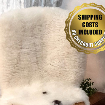 XL Genuine White Sheepskin Rug For Cosy Scandinavian Style Home Decoration // 100% Naturel Lambskin Pelt Throw Carpet
