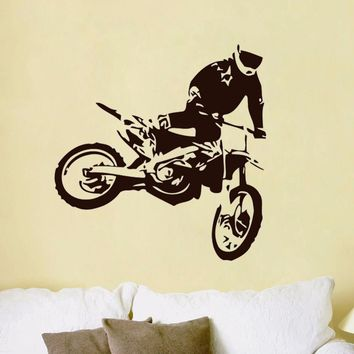 Motocross Wall Stickers Jumps Motorcycle Home Decor Removable Vinyl Adhesive Living Room Decoration Children Kid Boys Room Decal