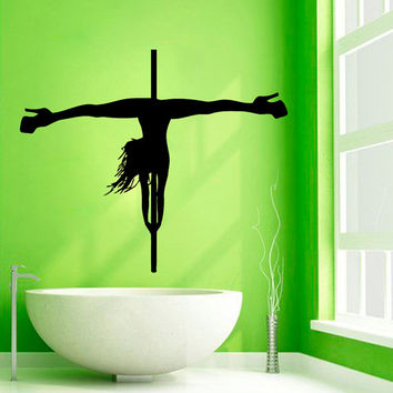 Pole Dance Wall Decal Girl Dancer Spa Beauty Salon Wall Decor Vinyl Sticker Home Decor Vinyl Art Wall Decor Girl Bathroom Nursery Decor KG74