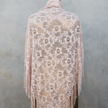 Beautiful Vintage Champagne Lace Shawl with Fringe