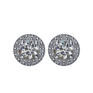 5/8 CTW Diamond Halo-Styled Stud Earrings in 14kt White Gold