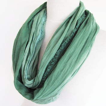 Green Cotton Long Scarf, Unisex Scarf, For Gift