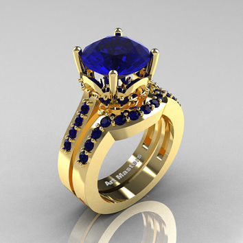 Classic 14K Yellow Gold 3.0 Carat Blue Sapphire Solitaire Wedding Ring Set R301S-14KYGBS