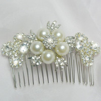 Princess  wedding or prom crystal and pearl comb