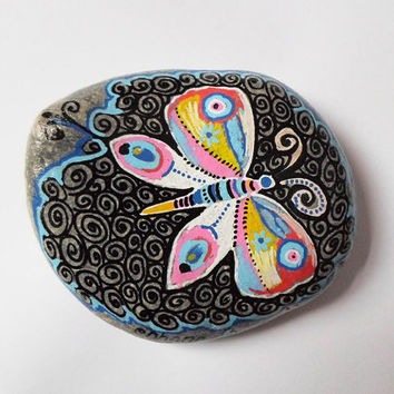 Butterfly Drawing Handpainted Stone Art, Wedding favors love, Christmas art gift, Pebble Rock art, Zentangle art, Boho yoga room decor gift