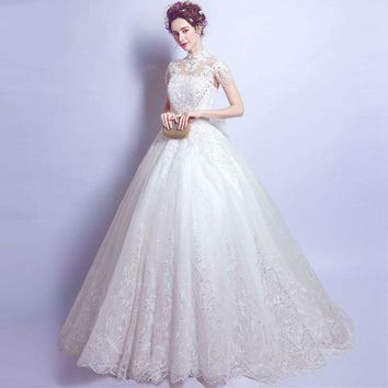 Wedding Dresses High Neck Ball Gown Lace Applique Tulle Beaded Sparking Keyhole Backless