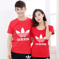 """Adidas"" Couple shirt Simple Casual Letter Print Cotton  Round Neck T-shirt Sportswear Shirt Top Tee"