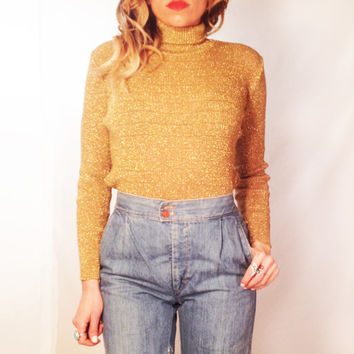 Vintage 1970s Gold Dust Woman Gold Bronze Disco Knit Top || Size Small Size Medium Turtleneck Sweater Made In Italy