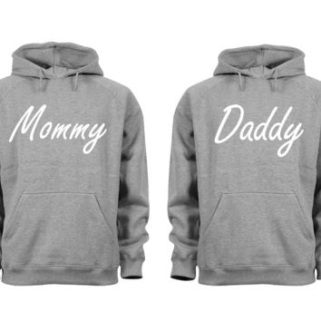 XtraFly Apparel Daddy Mommy Dad Mom Valentine's Matching Couples Hooded-Sweatshirt Pullover Hoodie