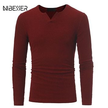 NIBESSER Brand Men Plaid Pattern Sweater Long Sleeve V-Neck Pullover Elastic Slim Warm Clothes Man Solid Sweaters Autumn Winter