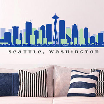 "NFL SEATTLE SEAHAWKS Skyline Team Wall Decal Washington Art Vinyl Peel n Stick up to 70"" x 18"" College Dorm Office Business Decor City"