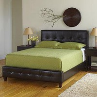 Draper Bonded Leather Bed  - Beds - Cost Plus World Market