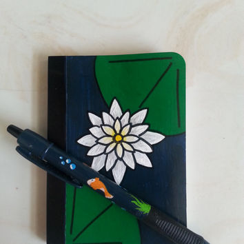 Hand Painted Mini Journal with Pen, Lotus Flower Notebook with Koi Fish pen, Custom Stationary, Upcycled Diary, Handpainted Pen
