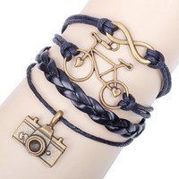 Personality Ornaments Bicycle Camera 8 Words Leather Rope Weaving Bracelet