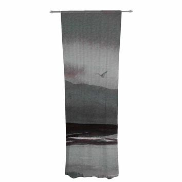 "Cyndi Steen ""Gray Landscape "" Gray Watercolor Painting Decorative Sheer Curtain"