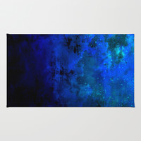 SECOND STAR TO THE RIGHT Rich Indigo Navy Blue Starry Night Sky Galaxy Clouds Fantasy Abstract Art Rug by EbiEmporium