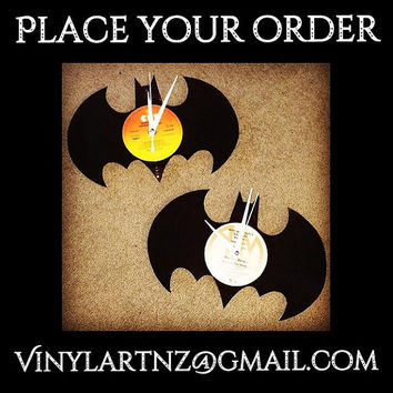 Batman Clock – Recycled Vinyl Record Art - Retro, Cool and Funky Wall Art - Home Decor - Perfect Birthday, Souvenier or Christmas Gift :)