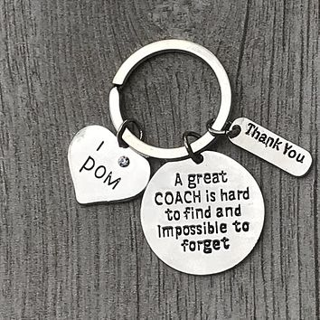 Pom Coach Keychain- Great Coach is Hard to Find But Impossible to Forget