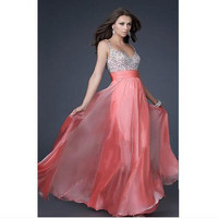 Fashion PINK Sweetheart Chiffon Prom  Dress with Beadings