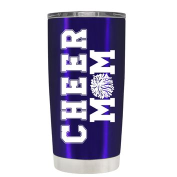 Pom Pom Cheer Mom on Intense Blue 20 oz Tumbler Cup