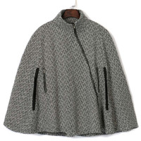 Grey Stand Collar Asymmetric Zipper Front Cape Coat