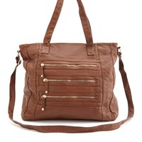 Zip Faux Leather Tote