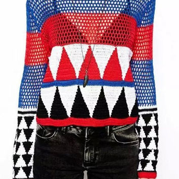 Multicolor Cut Out Geometric Print Pullover Sweater