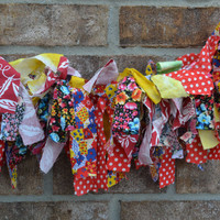 Scrappy Fabric banner red yellow blue multi color 2 feet long party decoration