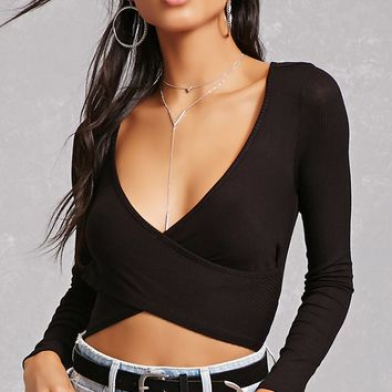 Surplice Ribbed Crop Top