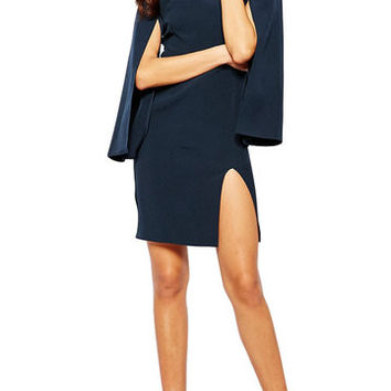 Blue Turtle Neck Cape Sleeve Split Dress