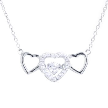 Sterling Silver Triple Heart CZ Necklace